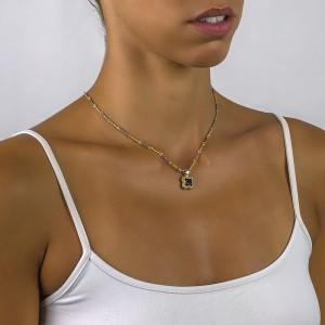Reversible pendant with zircon & tricolor chain M91