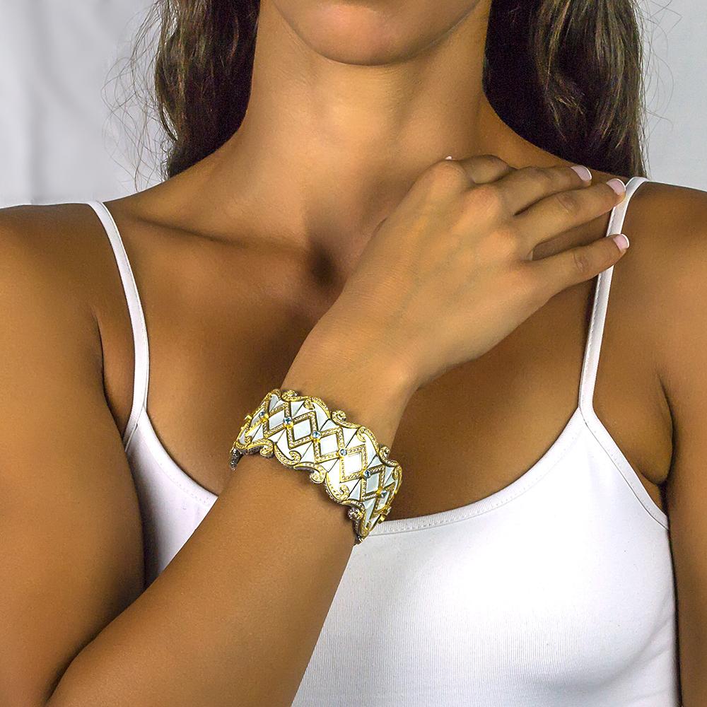 Bracelet with enamel  Swiss blue topaz & zircon B63