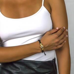 Cord bracelet with zircon B432