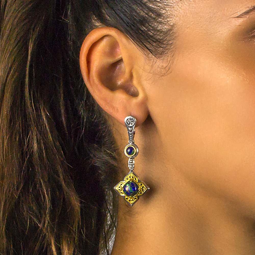Earrings with Mohave-Azourite gemstones S108-1