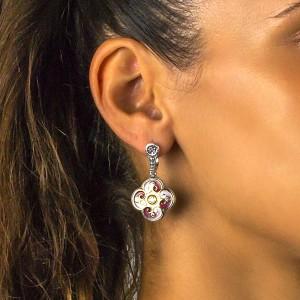 Earrings with enamel and zircon S110-1