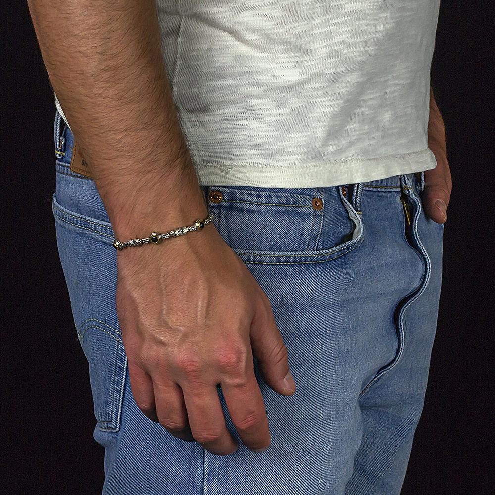 Bracelet with black onyx B114