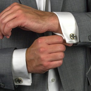 Locket sterling silver cuff-links with enamel MA75