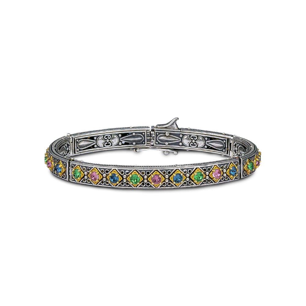 Bangle bracelet with multicolor Swarovski crystals B100