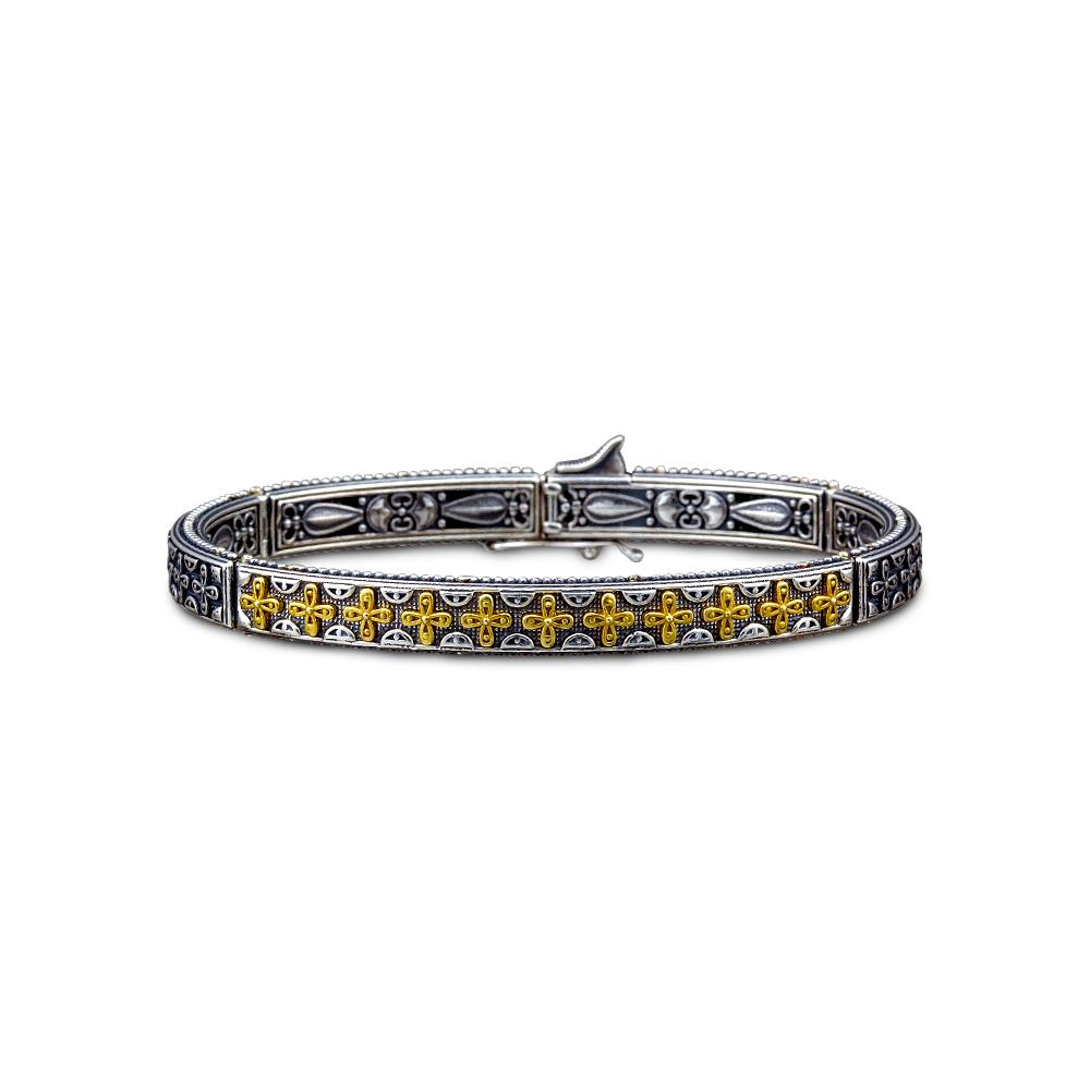Sterling silver bracelet with crosses B101-1