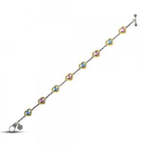 Reversible heart bracelet with multicolor Swarovski crystals B102