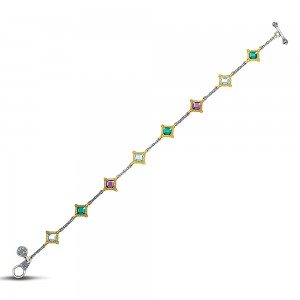 Reversible bracelet with multicolor Swarovski crystals B103