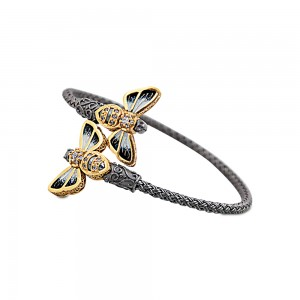 Bee cable bracelet with enamel B11