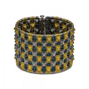 Reversible wide bracelet with Swarovski crystals B365