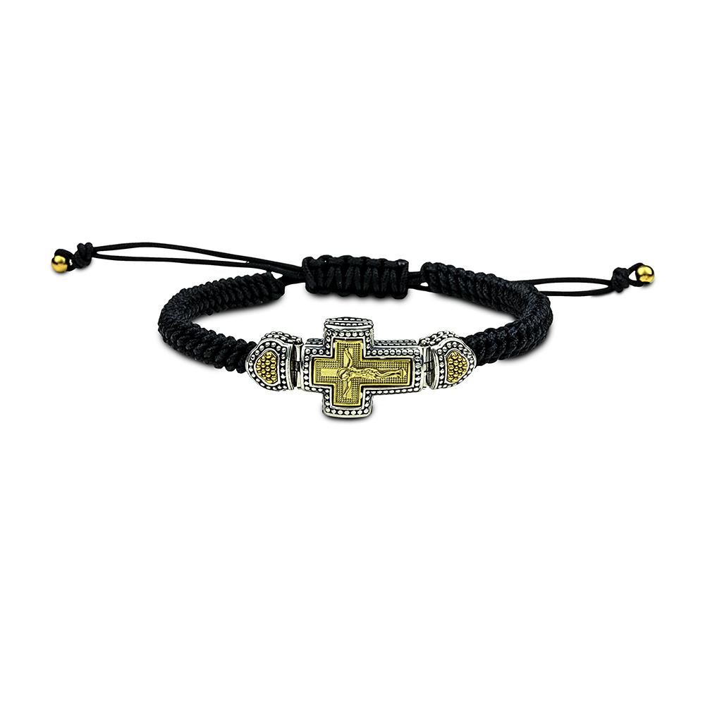 Sterling silver cord bracelet cross B443