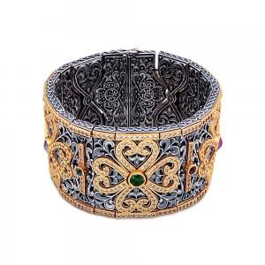 Wide bracelet with semi-precious gemstones and zircon B55