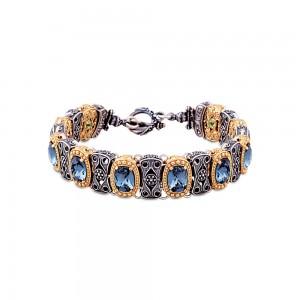 Reversible bracelet with Swarovski crystals and semi-precious stones B69