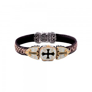 Locket bracele with leather B70