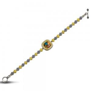Tricolor Bracelet with Mosaic gemstone B83-2