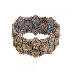 Reversible bracelet with semi-precious gemstones & zircon B86