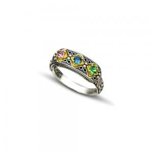 Ring with multicolor Swarovski crystals D100