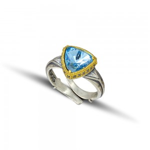 Ring with Swarovski crystal and zircon stones D104