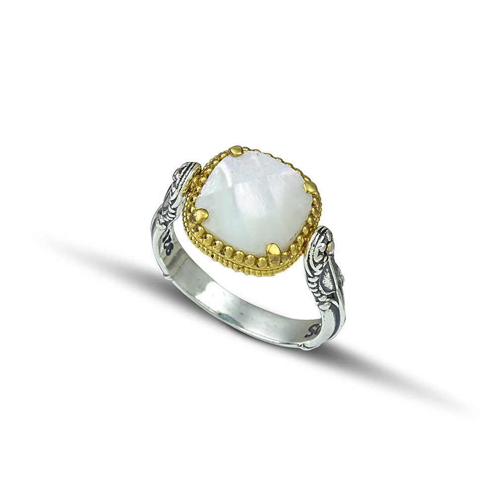 Reversible ring with Swarovski crystal and mother of pearl D116-1