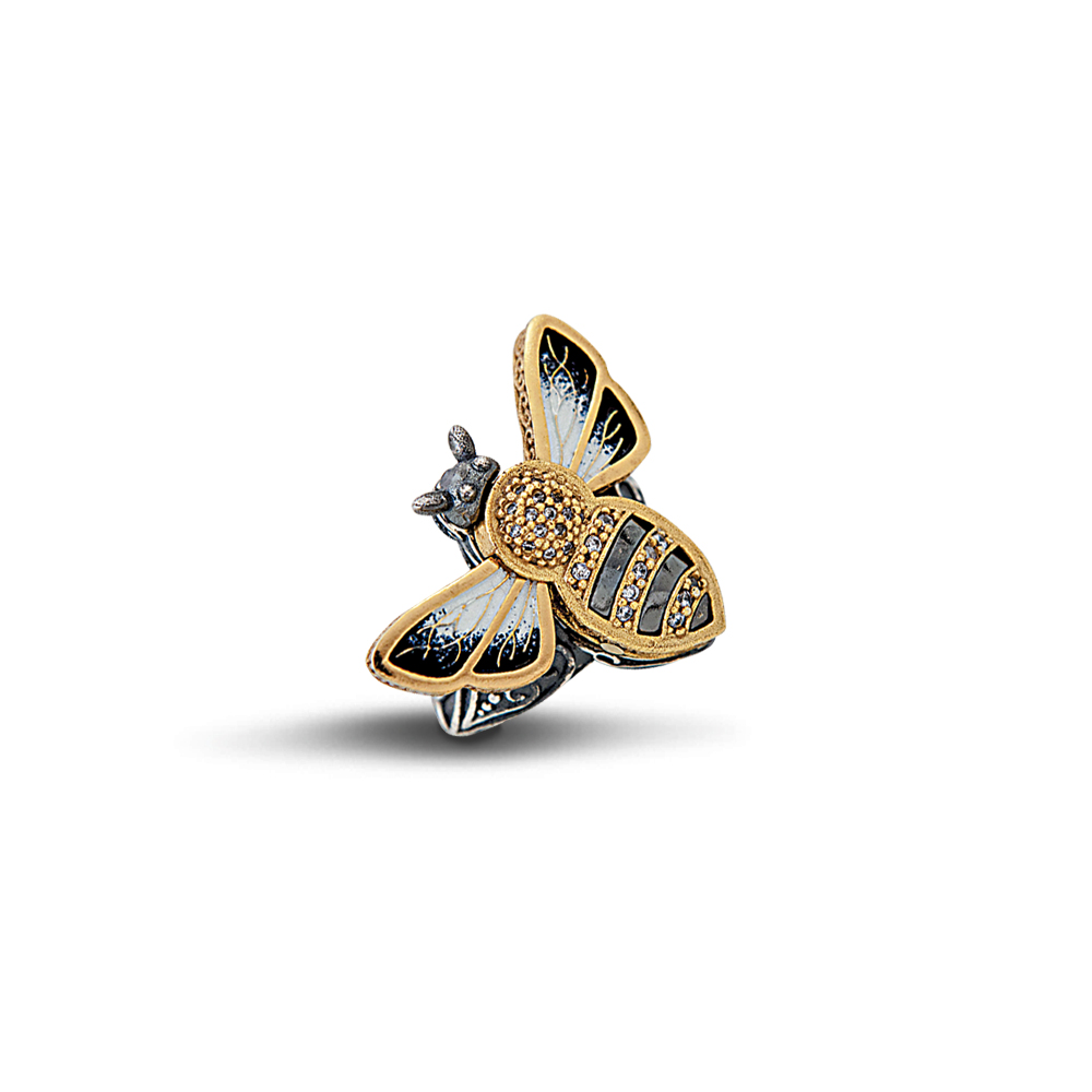 Bee ring with enamel and zircon D11