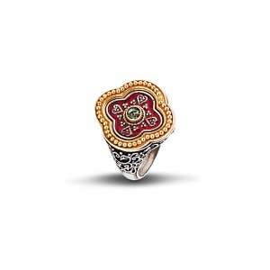 Ring with red enamel and Swarovski crystal D287