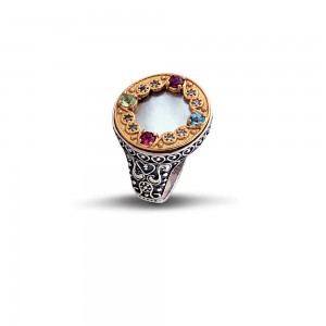 Ring with mother of pearl & semi-precious stones D67