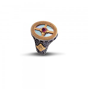 Ring with mother of pearl and Rodholite D68