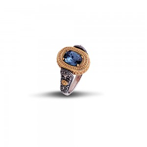 Reversible ring with Swarovski crystal and semi-precious stones D69