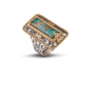Ring with turquoise gemstone D79-1