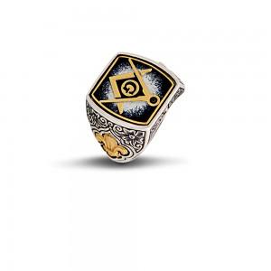 Reversible masonic ring with enamel D8