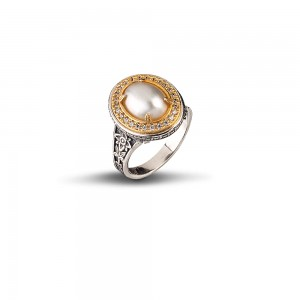 Ring with mabe pearl and zircon D84