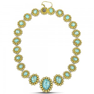 Necklace with Mohave Blue Turquoise & zircon K115