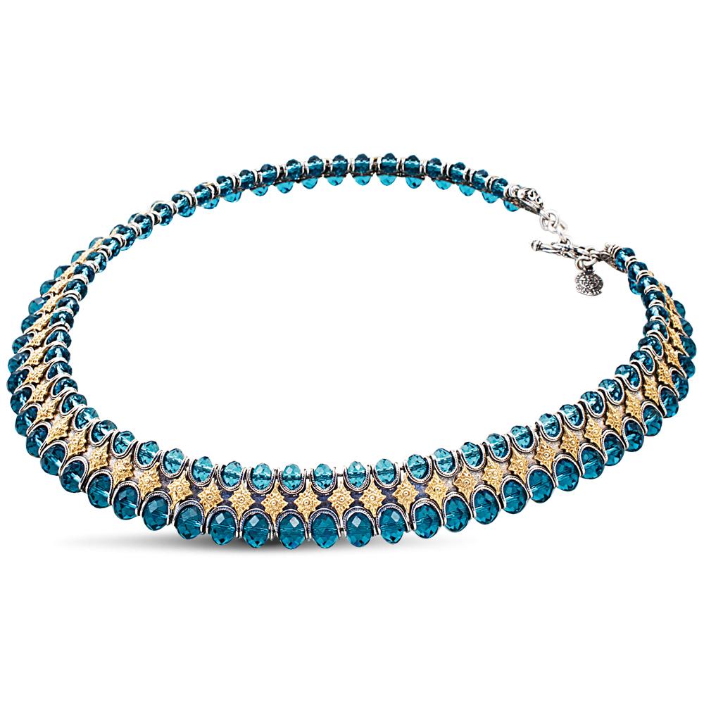 Necklace with blue Swarovski crystals K212