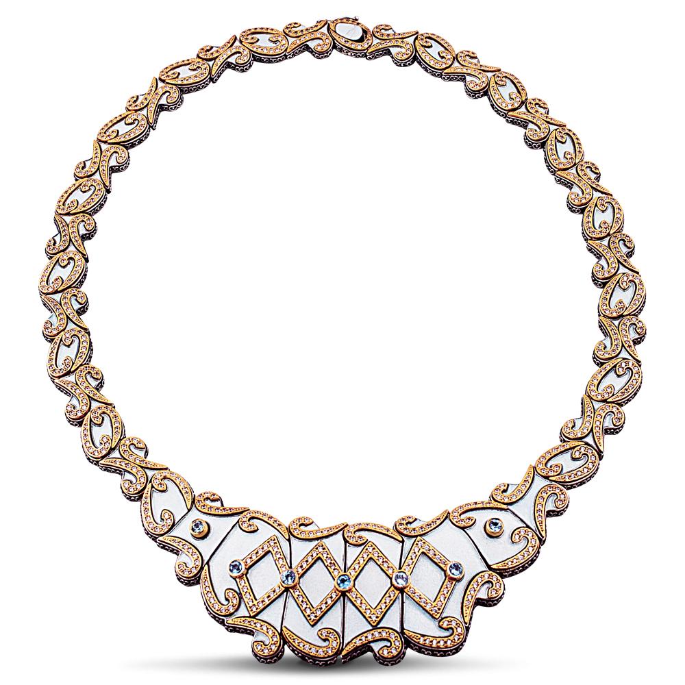 Necklace with white enamel Swiss blue topaz & zircon K63