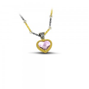 Reversible pendant heart with tricolor chain and Swarovski crystals M102