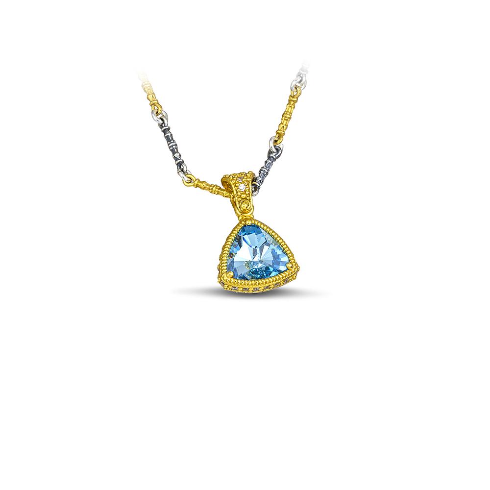 Pendant with Swarovski crystals & Tricolor chain M104