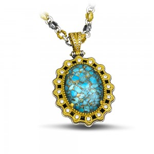 Pendant with turquoise gemstone & Tricolor chain M115