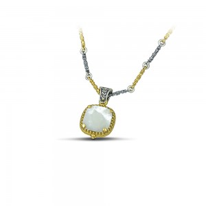 Reversible pendant with crystal, mother of pearl & tricolor chain M116-1