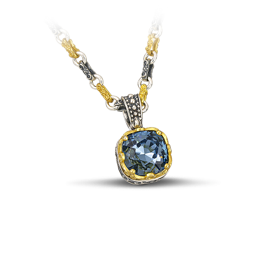 Pendant with Swarovski crystal & Tricolor chain M211