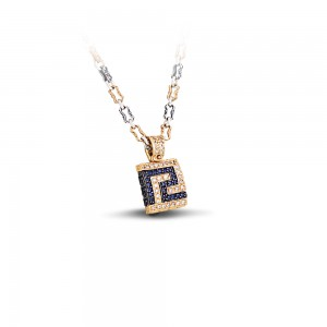 Greca pave pendant with zircon and tricolor chain M287