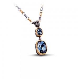 Pendant with Swarovski crystals & tricolor chain M62