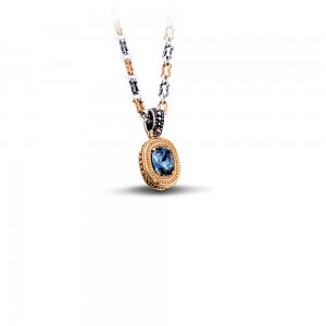 Reversible pendant with Swarovski  crystal,  gemstone & tricolor chain M69