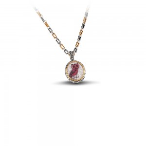 Reversible pendant with Swarovski crystals - tricolor chain & owl motif M82