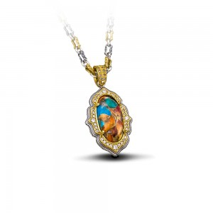 Pendant with Mosaic stone & tricolor chain M90