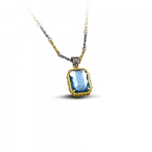 Reversible pendant with Swarovski crystals & tricolor chain M92