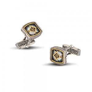 Masonic cuff-links with enamel MA8-1