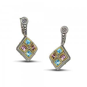 Earrings with moulti color crystals S105-1