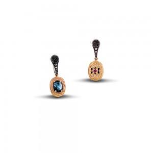 Reversible earrings with Swarovski crystals and semi precious gemstones S69