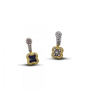 Reversible earrings with zircon S91