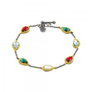 Reversible bracelet with multicolor Swarovski crystals B131-1