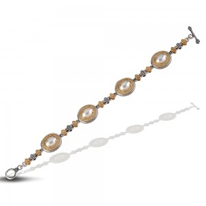 Bracelet with pearls and zircon B84-1